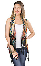 Wrangler Women's Black & Orange Aztec Print Vest with Fringe