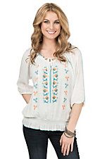 Wrangler Women's White with Aztec Print 3/4 Sleeve Peasant Top