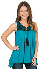 Wrangler Women's Teal with Black Lace Tank