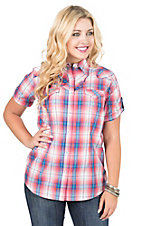Wrangler Women's Pink Multicolor Plaid Short Sleeve Western Shirt