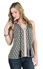 Wrangler Women's Grey and White Print Sleeveless Fashion Top