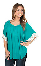 Wrangler Women's Turquoise Kimono Style with Crochet Trim Fashion Top