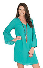 Wrangler Women's Turquoise with Long Bell Sleeves Dress