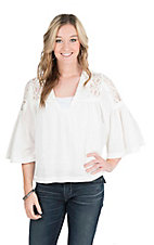 Wrangler Women's Cream with Crochet Yokes and 3/4 Bell Sleeves Fashion Top