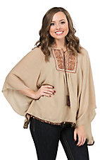 Wrangler Women's Tan Embroidered with Sequins Poncho Fashion Top