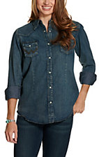 Wrangler Women's Long Sleeve Denim Vintage Western Snap Shirt