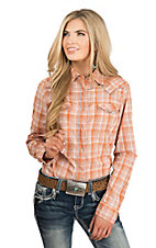 Wrangler Women's Orange Ombre Plaid with Yokes Long Sleeve Western Snap Shirt