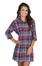 Wrangler Women's Blue and Red Plaid Long Sleeve Dress