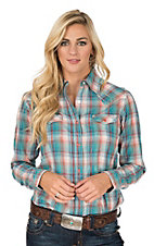 Wrangler Women's Teal Multi Plaid with Yokes Long Sleeve Western Snap Shirt