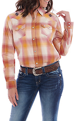 Wrangler Women's Gold And Rust Plaid Long Sleeve Western Shirt