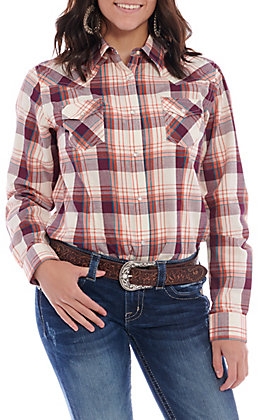 Wrangler Women's Orange & Burgundy Plaid Long Sleeve Western Shirt