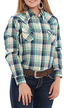 Wrangler Women's Teal, Blue & White Plaid Long Sleeve Western Shirt