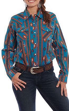 Wrangler Women's Teal Multi Aztec Print Long Sleeve Western Shirt