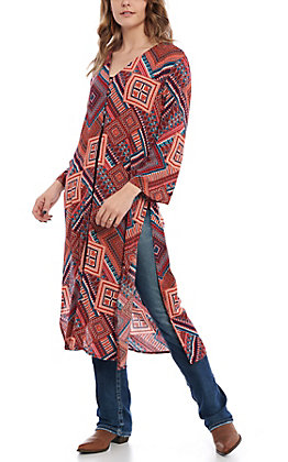 Wrangler Women's Wine & Gold Multi Print Duster