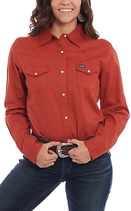 Wrangler Women's Solid Rust Long Sleeve Work Shirt