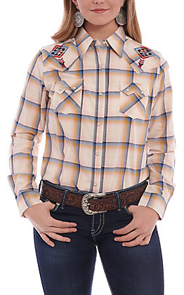 Wrangler Women's Ivory Multi Plaid With Tribal Embroidery Long Sleeve Western Shirt