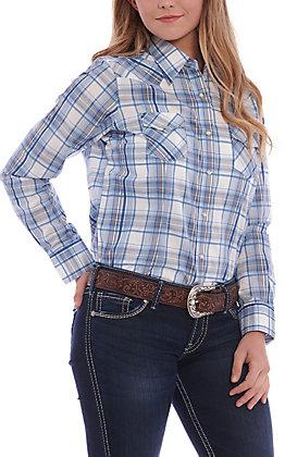 Wrangler Women's Blue & White Plaid Long Sleeve Western Shirt