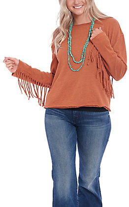 Women's Wrangler Retro Long Sleeve French Terry Fringe Fashion Top