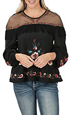 Wrangler Women's Black with Floral Embroidery and Fringe Long Sleeve Fashion Top