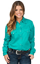 Wrangler Women's Turquoise Ultimate Riding Long Sleeve Snap Shirt