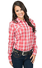 Wrangler Women's Coral & White Plaid Long Sleeve Western Shirt