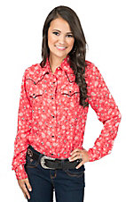 Wrangler Women's Coral Paisley Print Long Sleeve Western Shirt