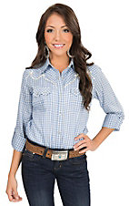 Wrangler Women's Light Blue & White Check Plaid Long to 3/4 Sleeve Retro Western Shirt