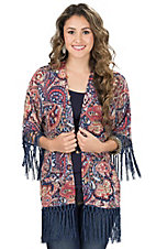 Wrangler Women's Multicolor Paisley with Fringe 3/4 Sleeve Cardigan