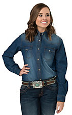 Wrangler Women's Medium Wash Denim Long Sleeve Western Snap Shirt