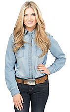 Wrangler Women's Light Wash Denim Long Sleeve Western Snap Shirt