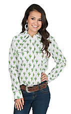 Wrangler Women's White Cactus Print with Yokes Long Sleeve Western Snap Shirt