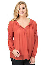 Wrangler Women's Rust Chiffon Peasant Top with Lace Insets on Long Sleeves Fashion Top