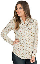 Wrangler Women's Cream Vintage Print Long Sleeve Retro Western Shirt