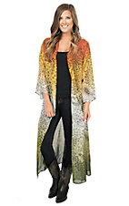 Wrangler Women's Green & Rust Multicolor Paisley Print Long Sleeve Chiffon Long Cardigan