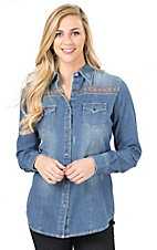 Wrangler Women's Denim with Aztec Embroidery Long Sleeve Western Shirt