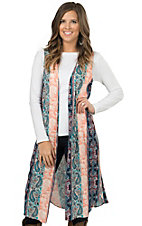 Wrangler Women's Turquoise and Peach Paisley Sleeveless Duster Vest