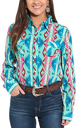 Wrangler Women's Turquoise Aztec Print Long Sleeve Western Shirt