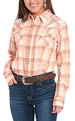 Wrangler Women's Peach Plaid Embroidered Long Sleeve Western Shirt