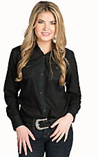 Wrangler Women's Black Burnout Woven Western Shirt