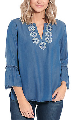 Wrangler Women's Blue Chambray Bell Sleeve Fashion Top