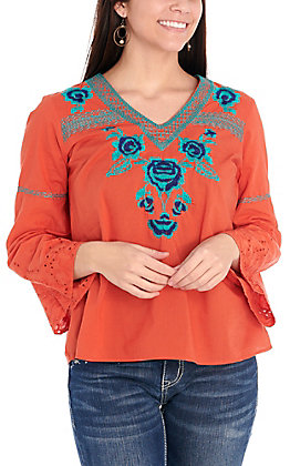 Wrangler Retro Women's Orange with Turquoise Floral Embroidery Bell Sleeve Fashion Top