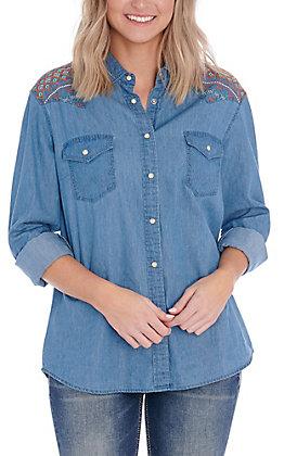 Wrangler Women's Denim with Embroidery Long Sleeve Western Shirt