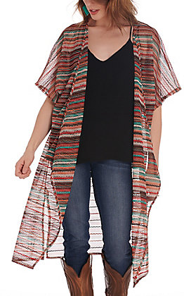 Wrangler Retro Women's Multi-Colored Stripe Knit Duster Kimono