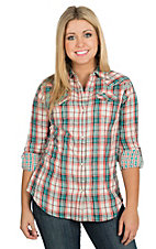 Wrangler Women's Red and Blue Plaid Woven Western Shirt