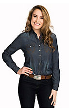 Wrangler Women's Denim Long Sleeve Snap Shirt