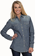 Wrangler Women's Chambray with Studs Long Sleeve Western Snap Shirt