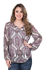 Wrangler Women's Violet Paisley Print with White Tassels Long Cinched Sleeve Peasant Top