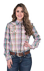 Wrangler Women's Violet Plaid Long Sleeve Western Snap Shirt