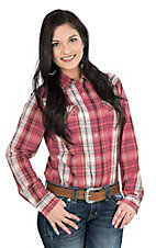 Wrangler Women's Red and Cream Plaid Long Sleeve Western Snap Shirt