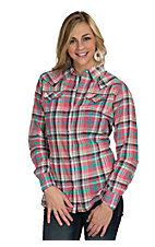 Wrangler Women's Coral Plaid Woven Western Shirt with Coral Snaps